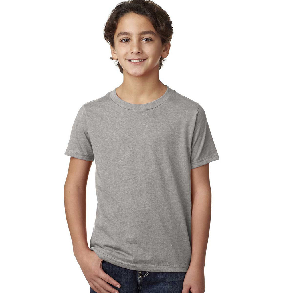 Next Level Boy's Dark Heather grey CVC Crew Tee