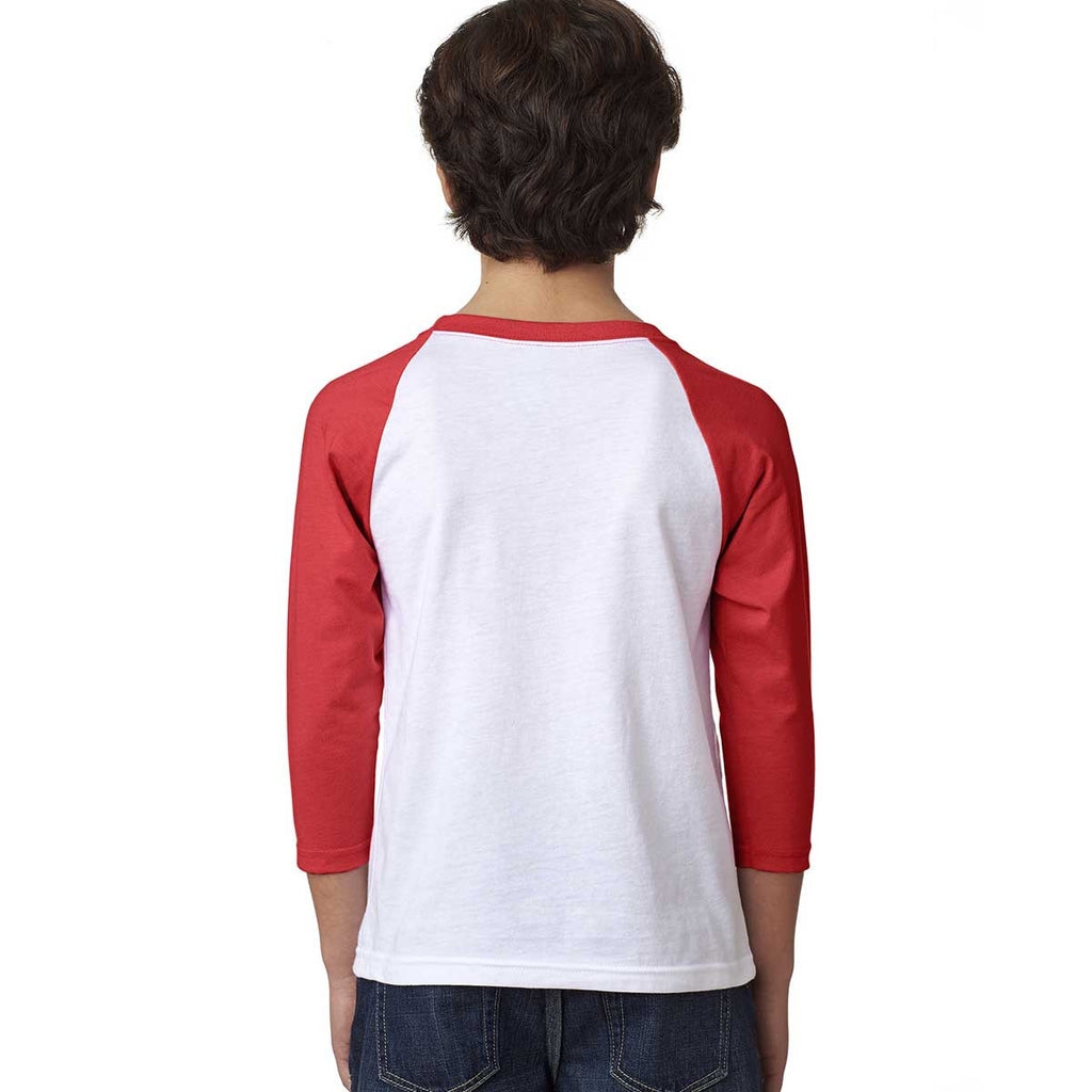 Next Level Youth Red/White CVC 3/4-Sleeve Raglan Tee