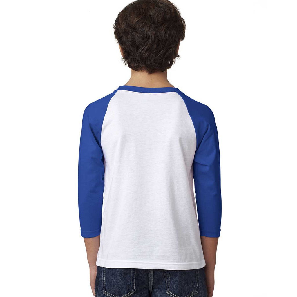 Next Level Youth Royal/White CVC 3/4-Sleeve Raglan Tee