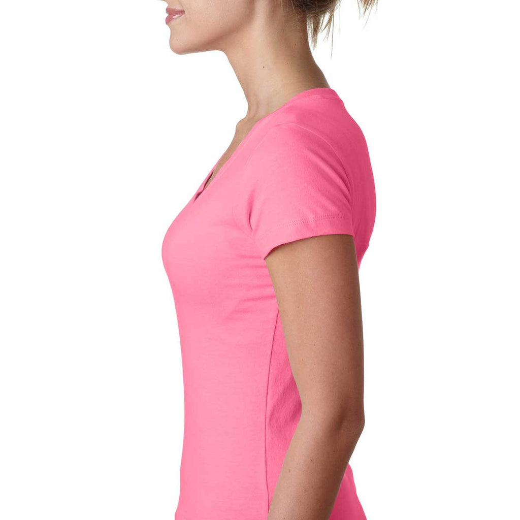Next Level Women's Hot Pink Sporty V-Neck Tee