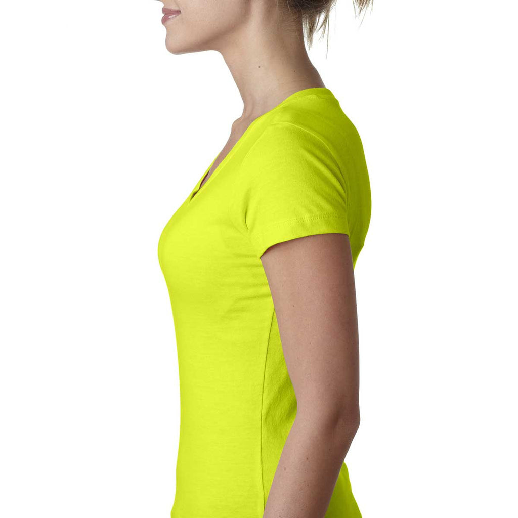 Next Level Women's Neon Yellow Sporty V-Neck Tee