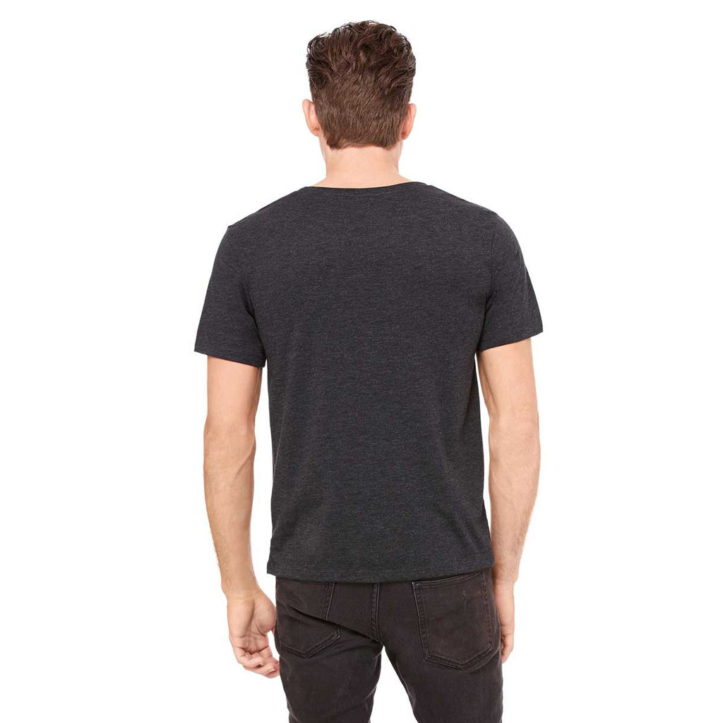 Bella + Canvas Men's Charcoal-Black Triblend Jersey Wide Neck T-Shirt