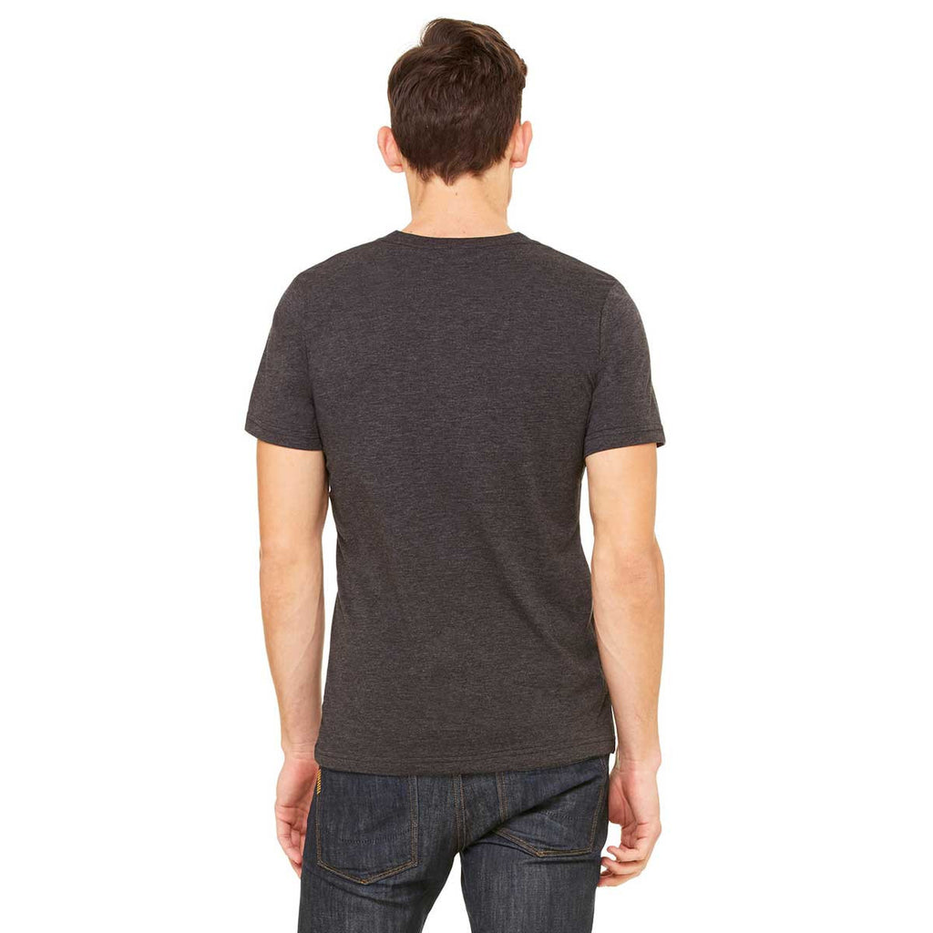 Bella + Canvas Unisex Charcoal Black Triblend Short-Sleeve V-Neck T-Shirt