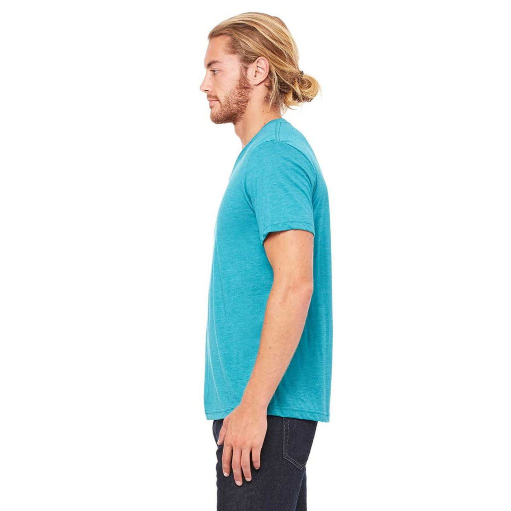 Bella + Canvas Unisex Teal Triblend Short-Sleeve V-Neck T-Shirt