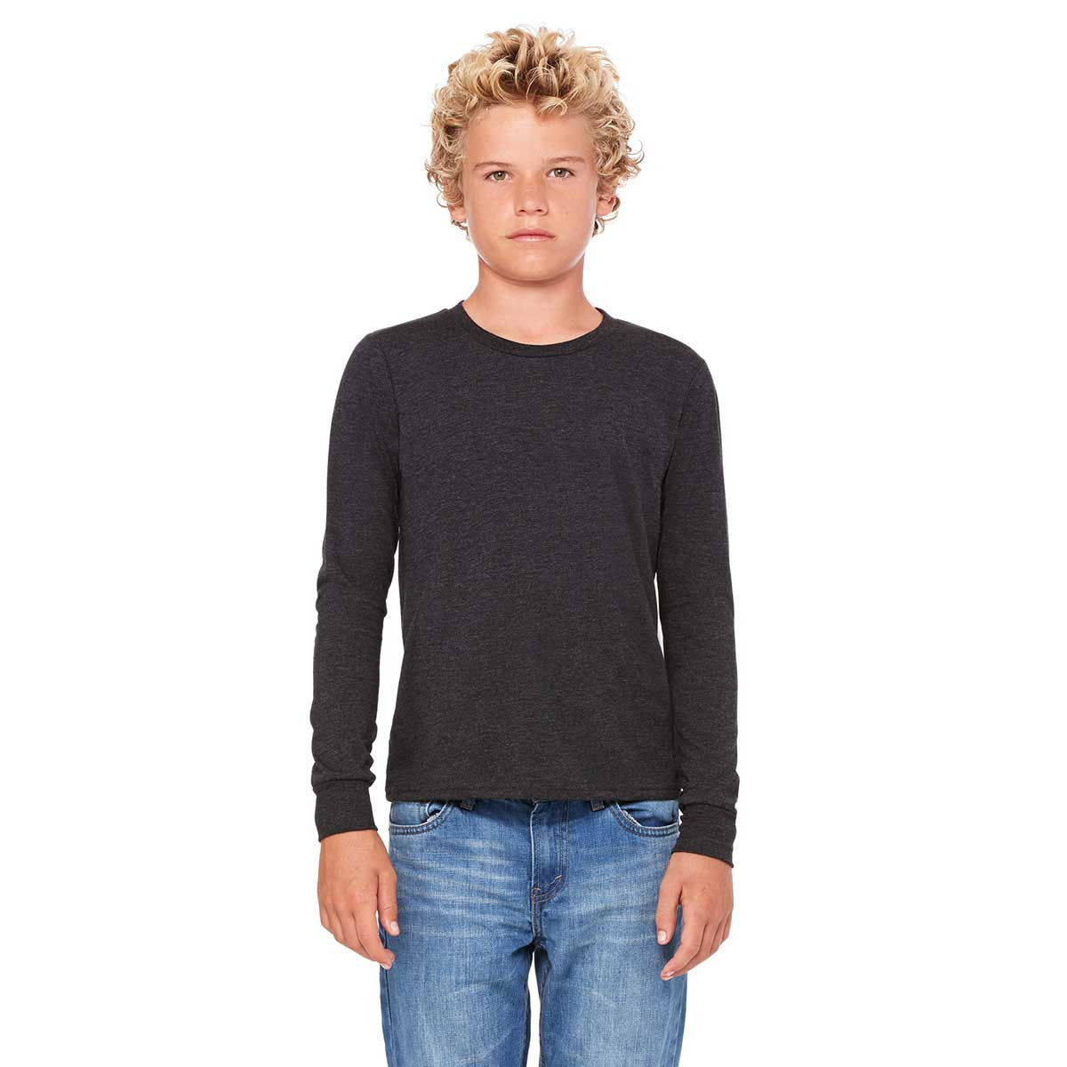 Bella + Canvas Youth Charcoal-Black Triblend Jersey Long-Sleeve T-Shirt