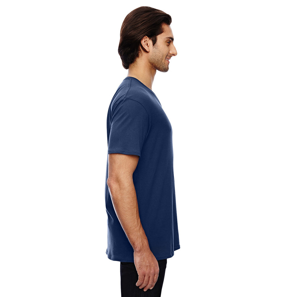 Anvil Men's Navy 3.2 oz. Featherweight Short-Sleeve V-Neck T-Shirt