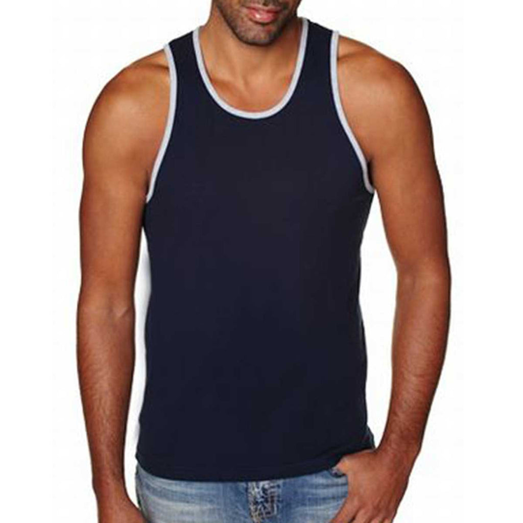 Next Level Men's Midnight Navy/ Healther Grey Premium Jersey Tank