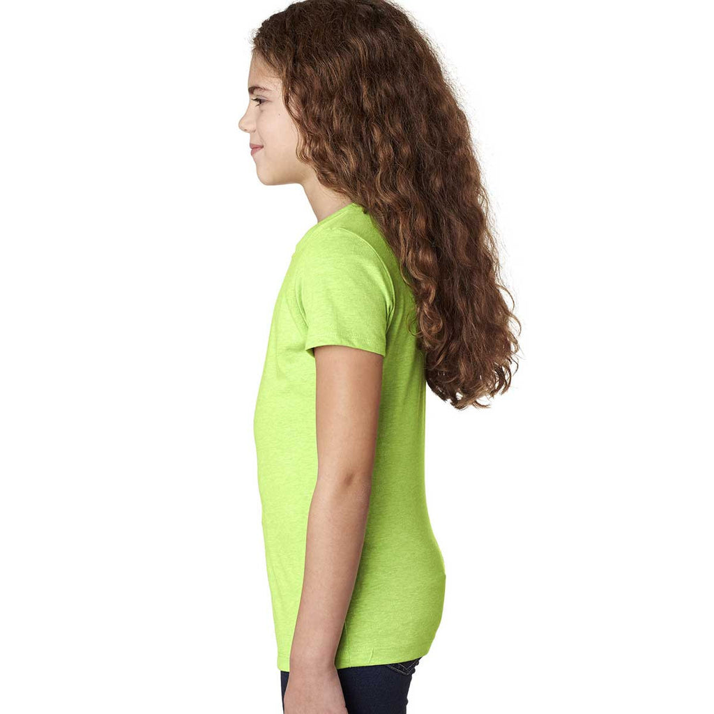 Next Level Girl's Neon Green Princess CVC Tee