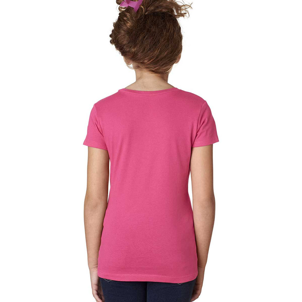 Next Level Girl's Hot Pink Adorable V-Neck Tee