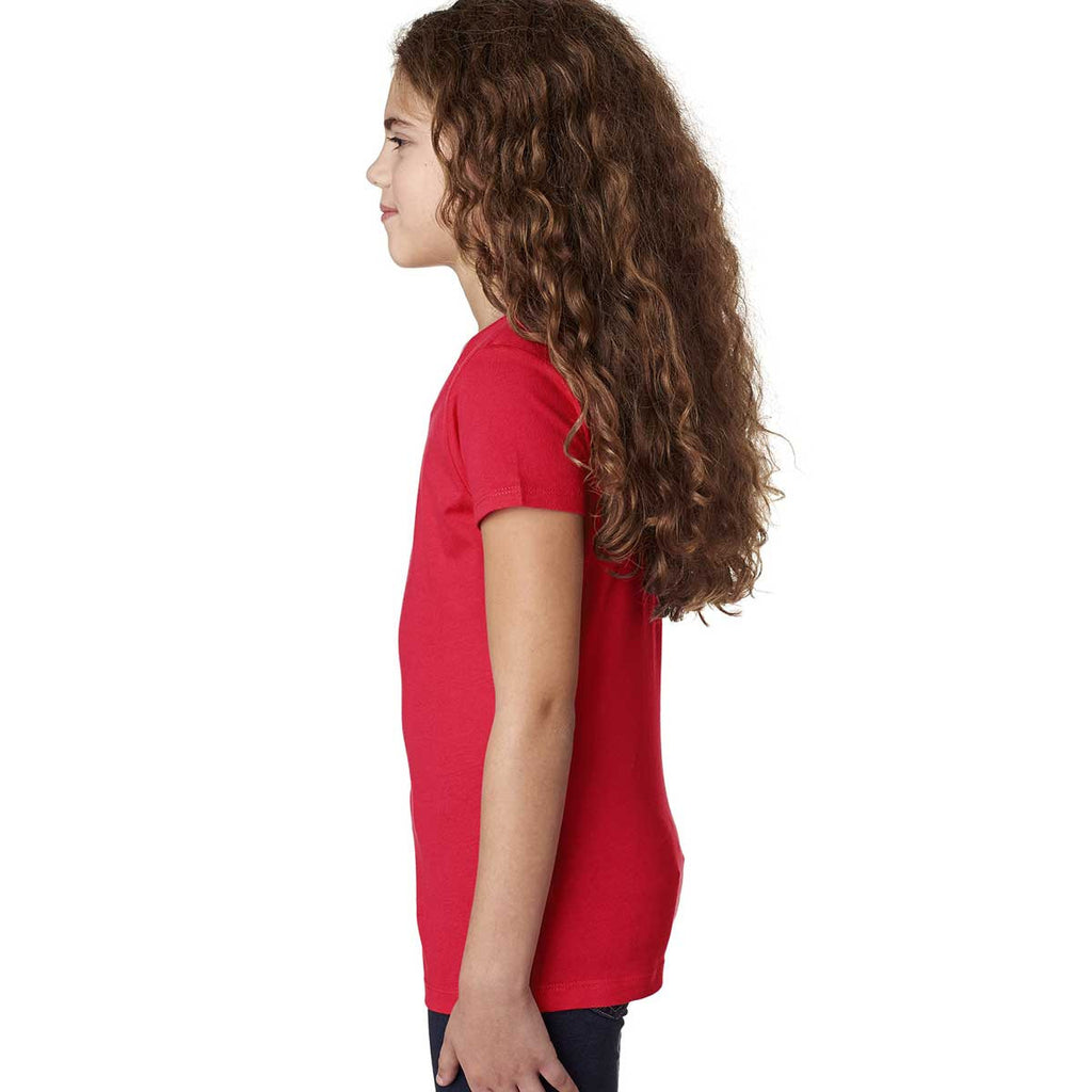 Next Level Girl's Red Adorable V-Neck Tee
