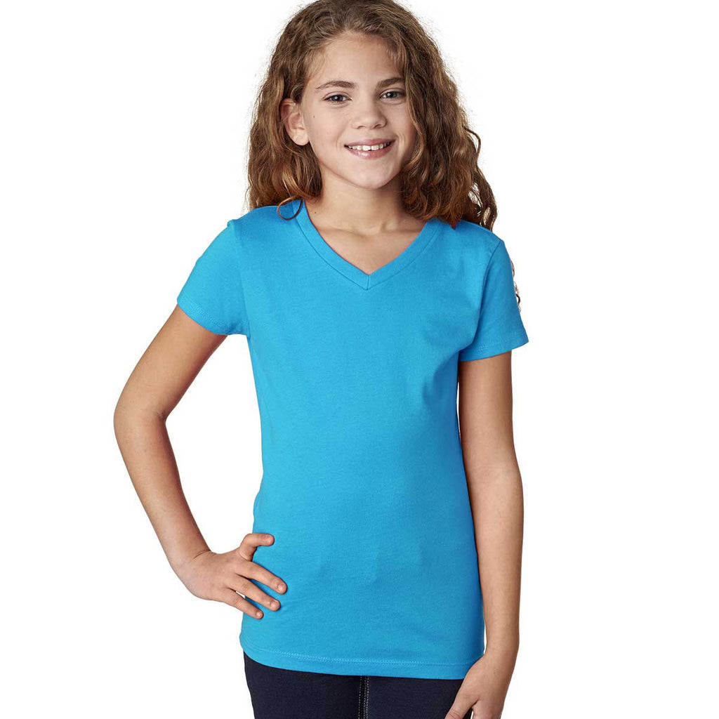 Next Level Girl's Turquoise Adorable V-Neck Tee
