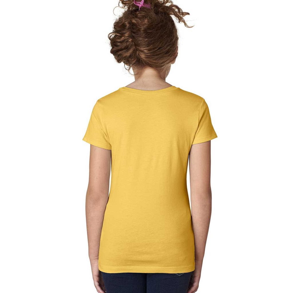 Next Level Girl's Vibrant Yellow Adorable V-Neck Tee