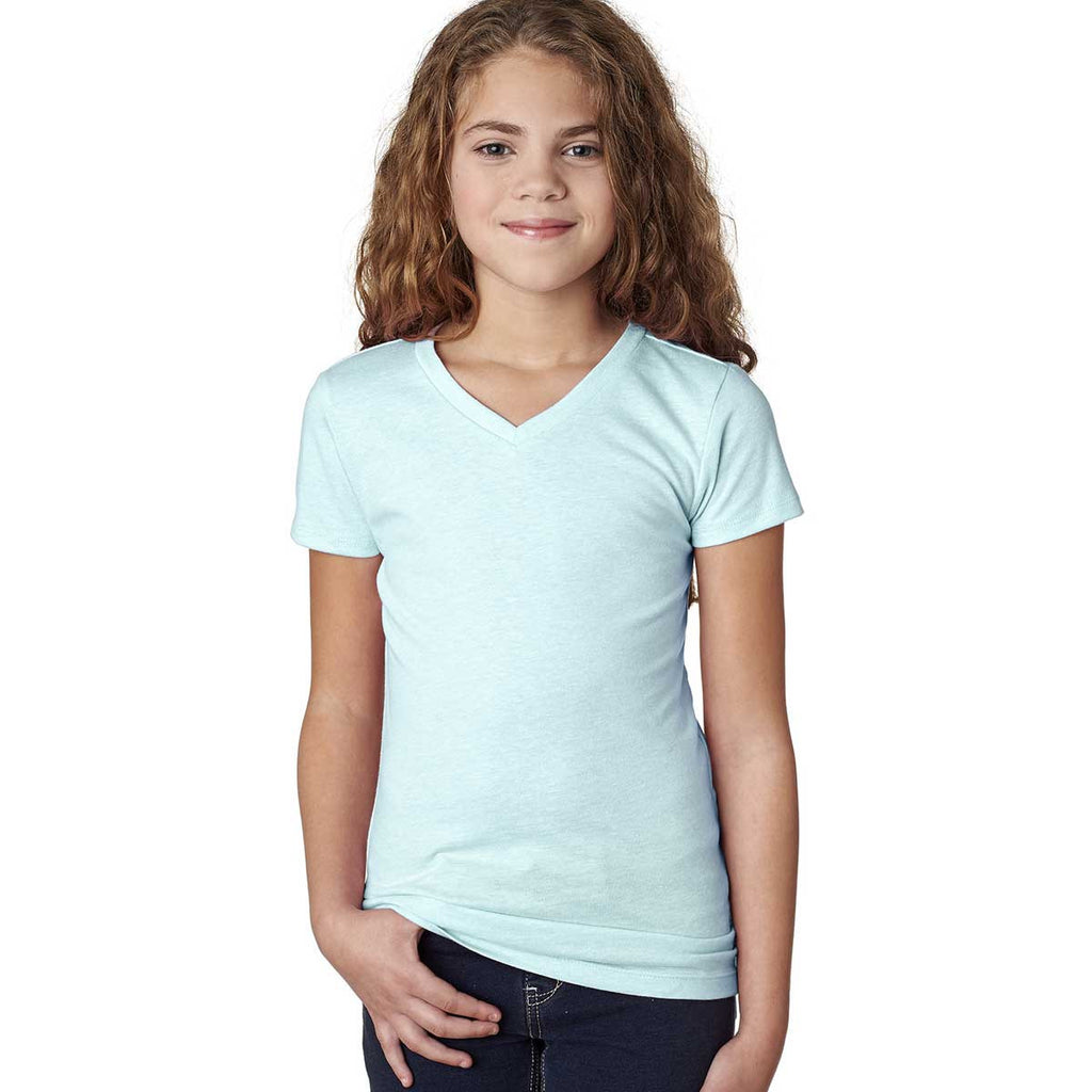Next Level Girl's Ice Blue Adorable CVC V-Neck Tee
