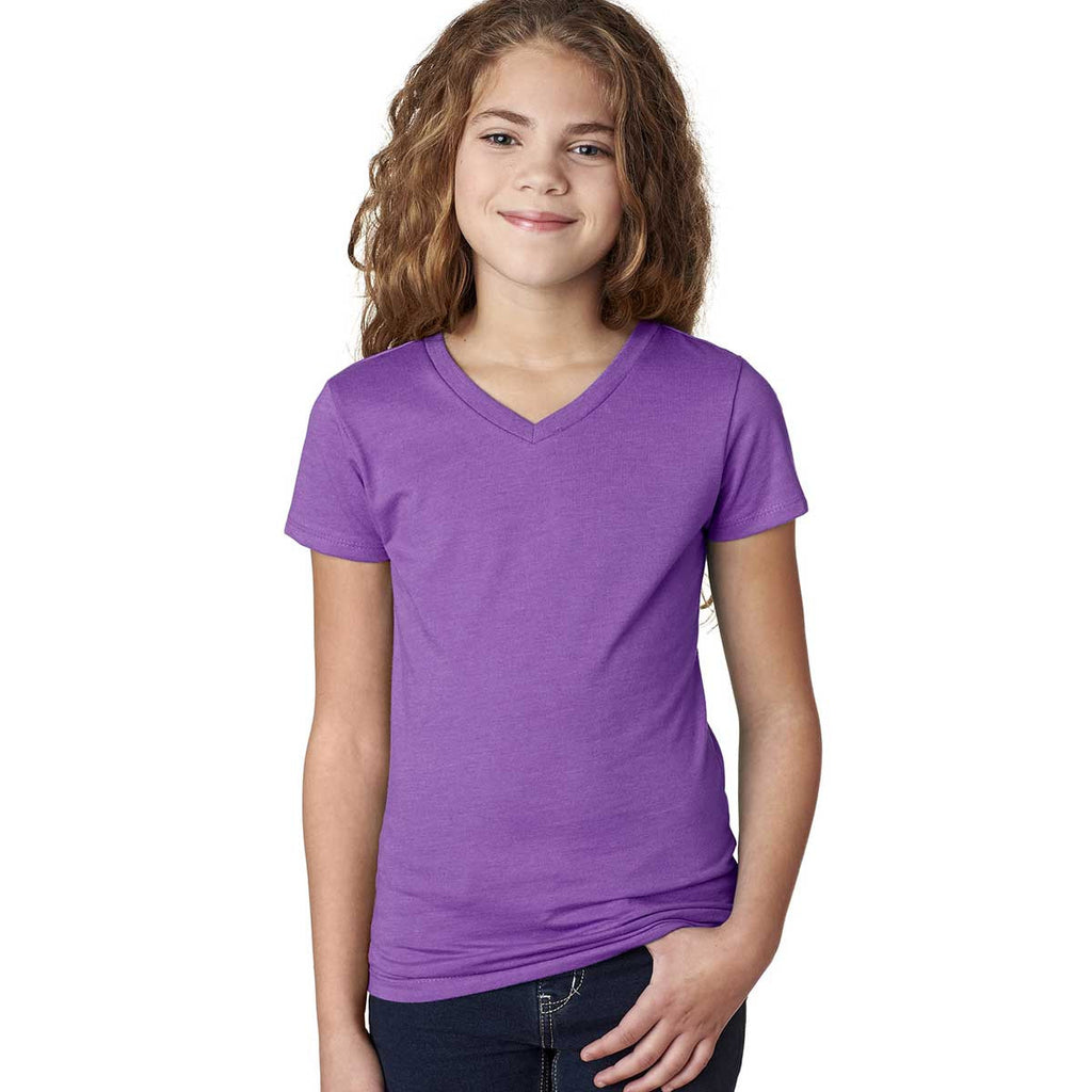 Next Level Girl's Purple Berry Adorable CVC V-Neck Tee