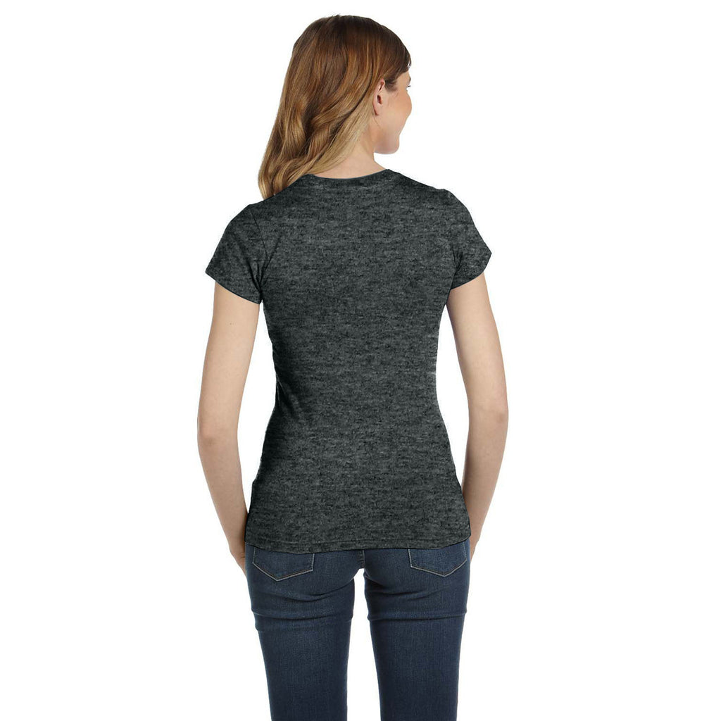 Anvil Women's Heather Dark Grey Ringspun Fitted T-Shirt
