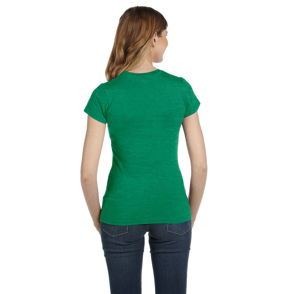 Anvil Women's Heather Green Ringspun Fitted T-Shirt