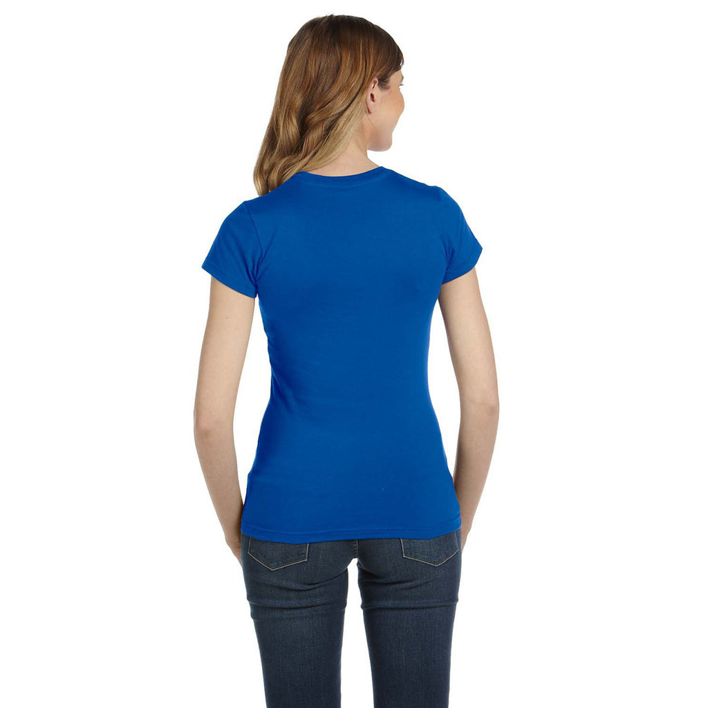 Anvil Women's Royal Blue Ringspun Fitted T-Shirt