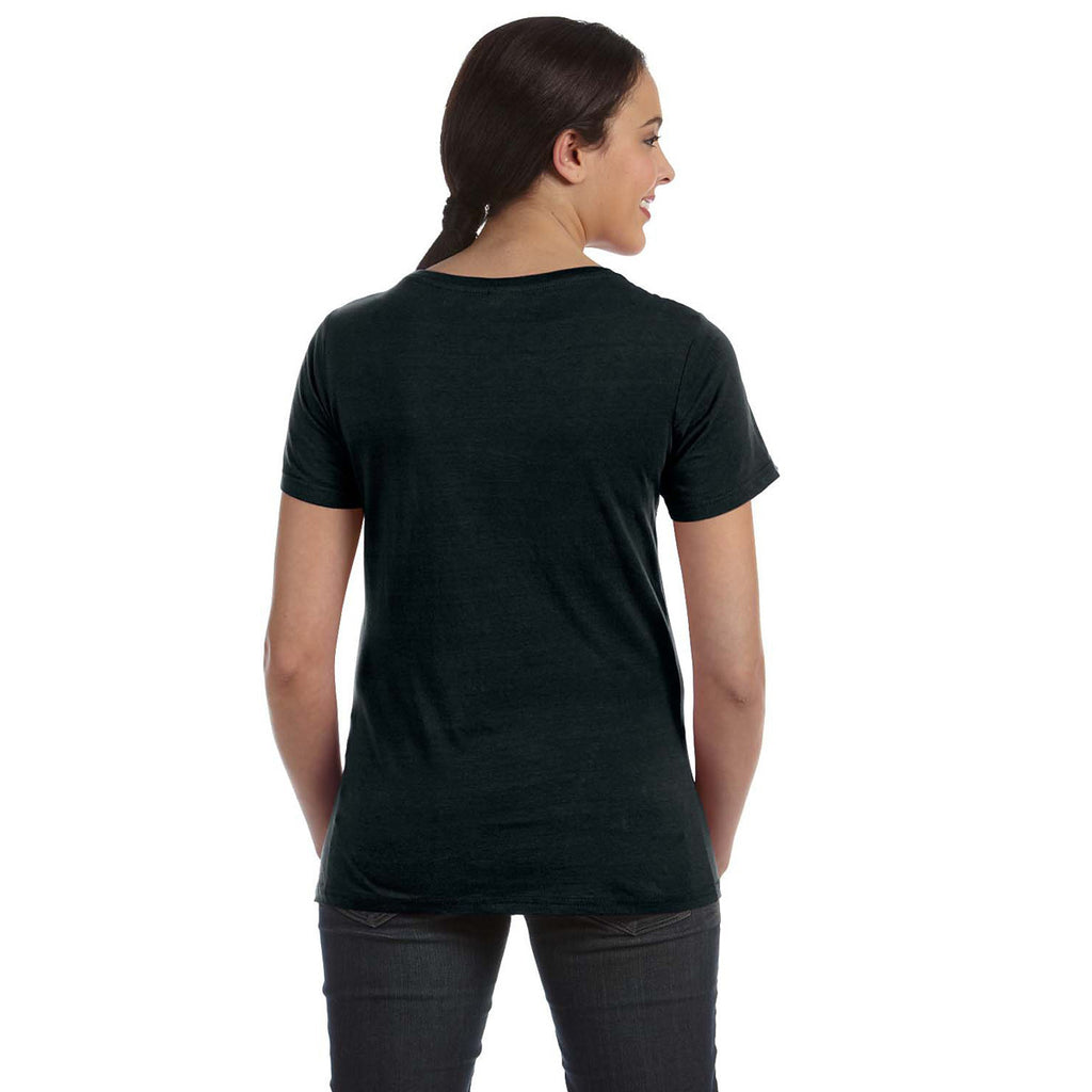 Anvil Women's Black Ringspun Sheer Featherweight T-Shirt