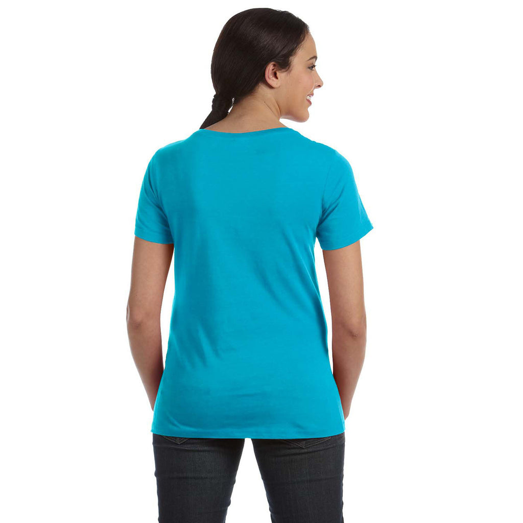Anvil Women's Carribean Blue Ringspun Sheer Featherweight T-Shirt