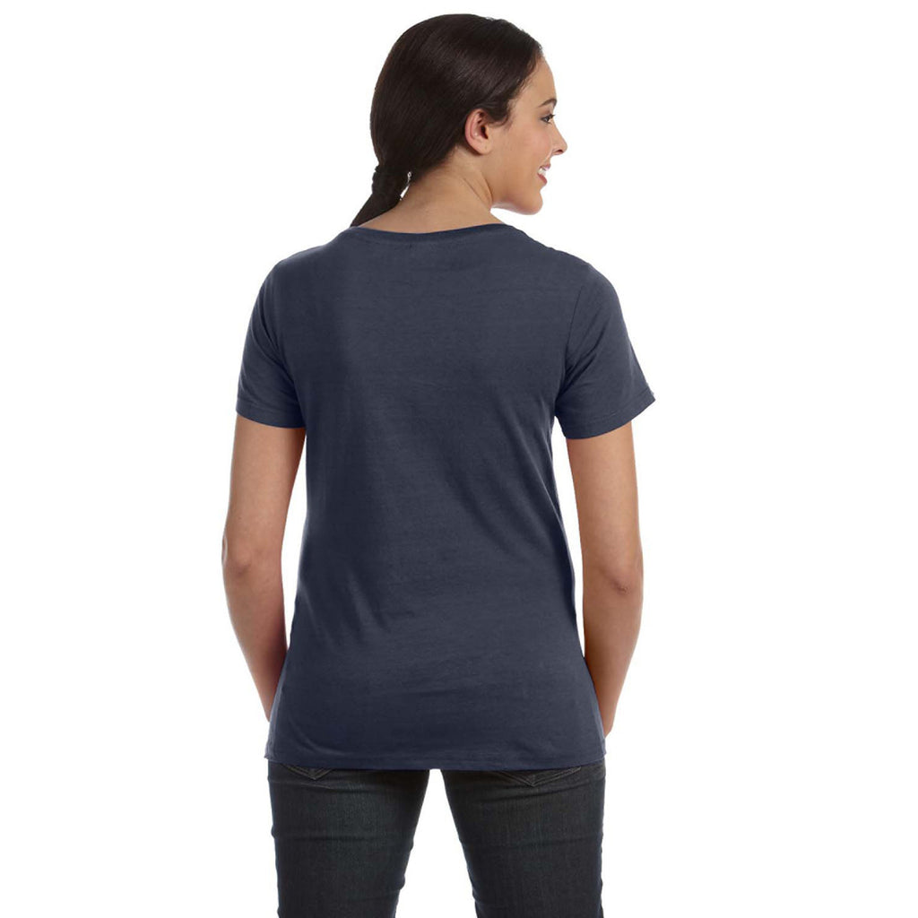 Anvil Women's Navy Ringspun Sheer Featherweight T-Shirt