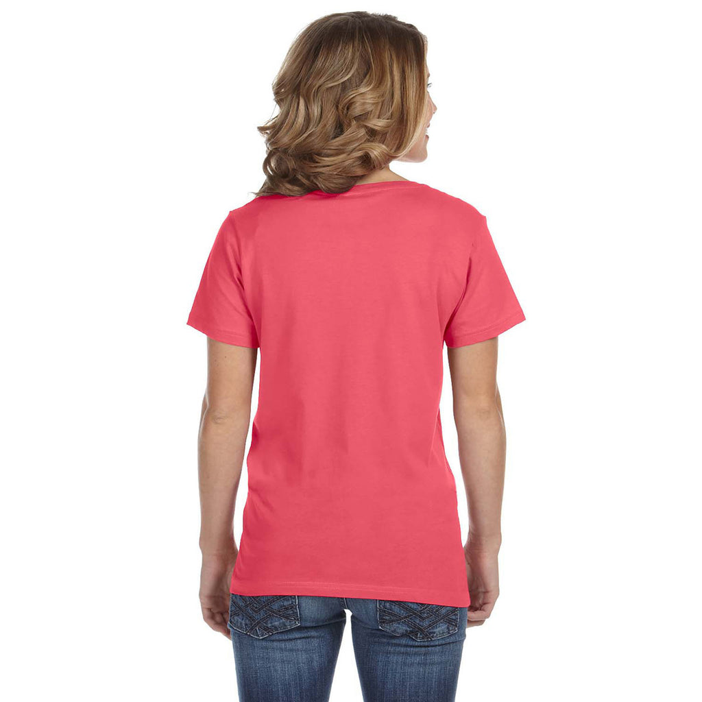 Anvil Women's Coral Ringspun Featherweight V-Neck T-Shirt