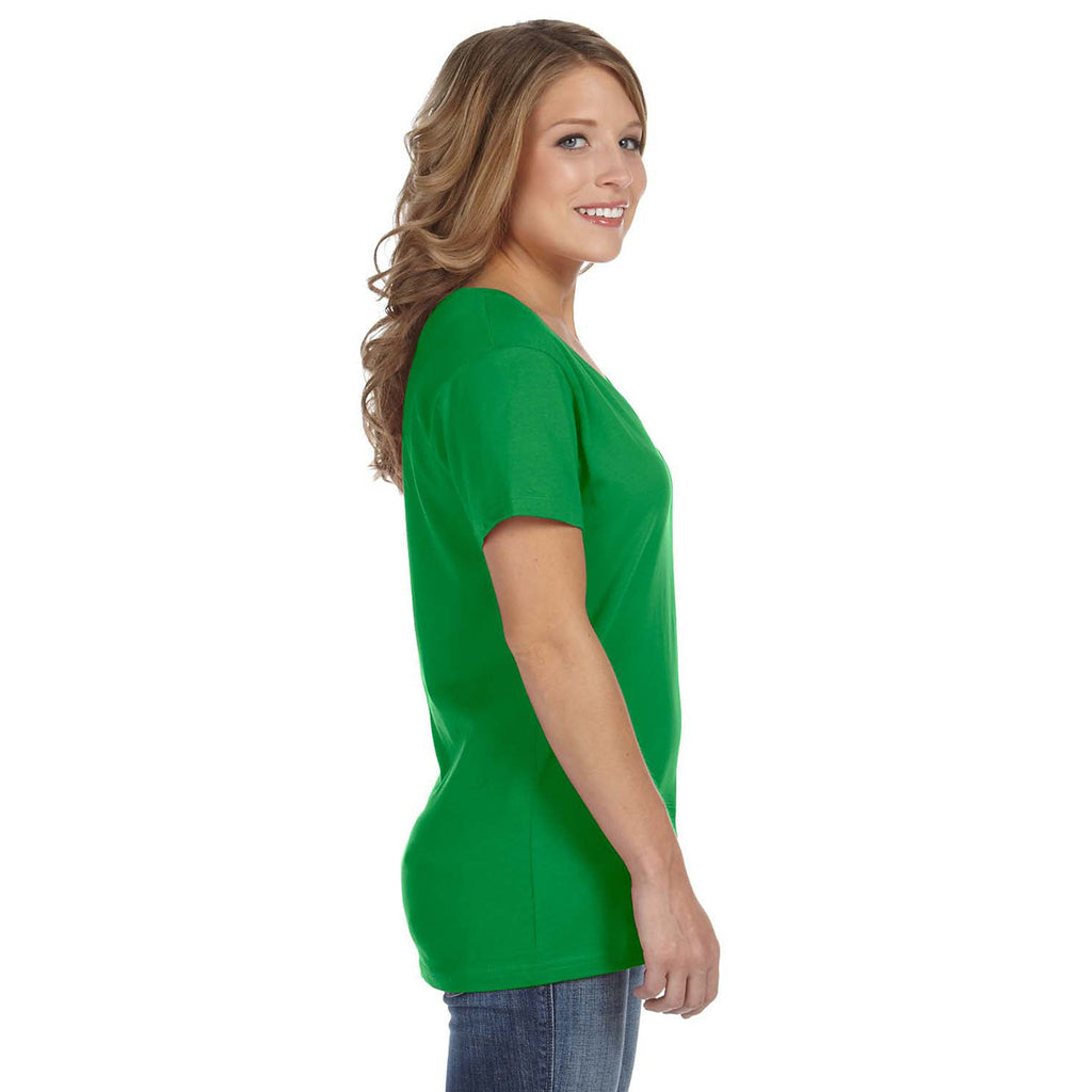 Anvil Women's Green Apple Ringspun Featherweight V-Neck T-Shirt