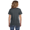 Anvil Women's Heather Dark Grey Ringspun Featherweight V-Neck T-Shirt