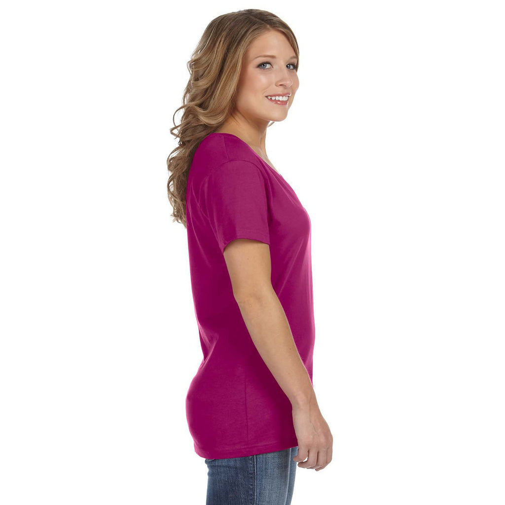 Anvil Women's Raspberry Ringspun Featherweight V-Neck T-Shirt