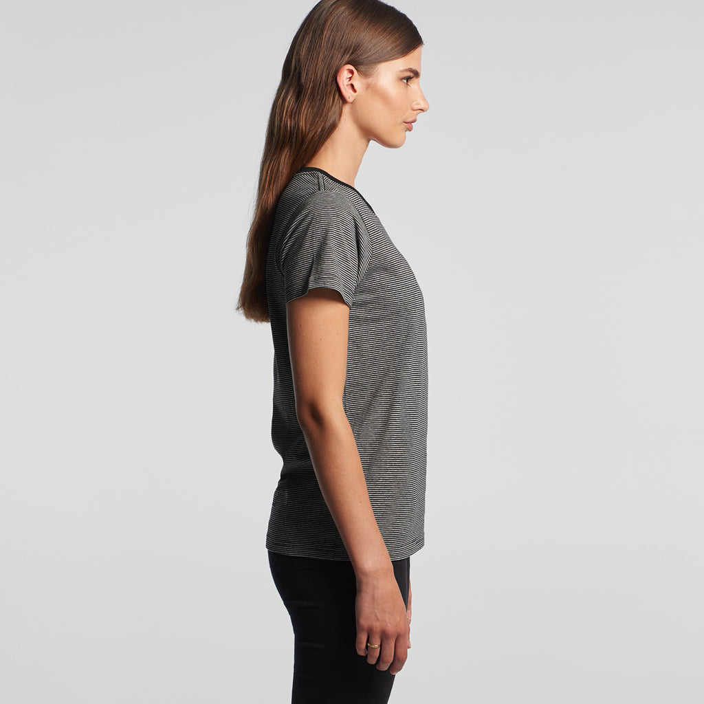 AS Colour Women's Grey Marle/Black Line Stripe Tee