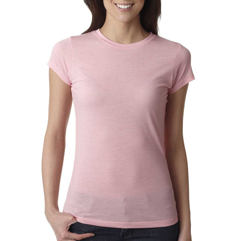 Next Level Women's Dusty Pink Poly/Cotton Short-Sleeve Tee