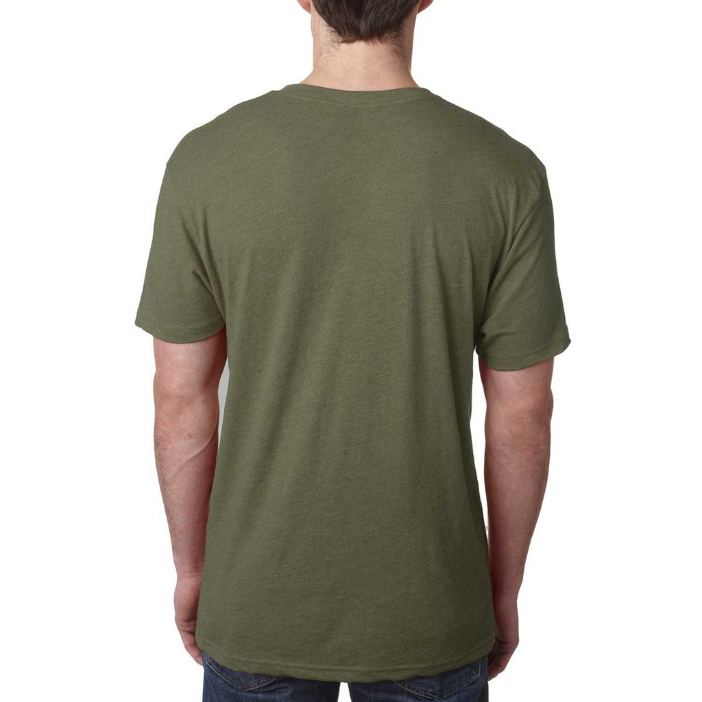 Next Level Men's Military Green Triblend V Neck Tee