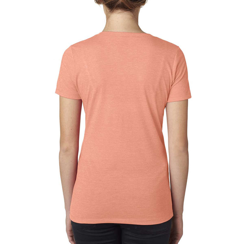 Next Level Women's Light Orange Poly/Cotton V Neck Tee