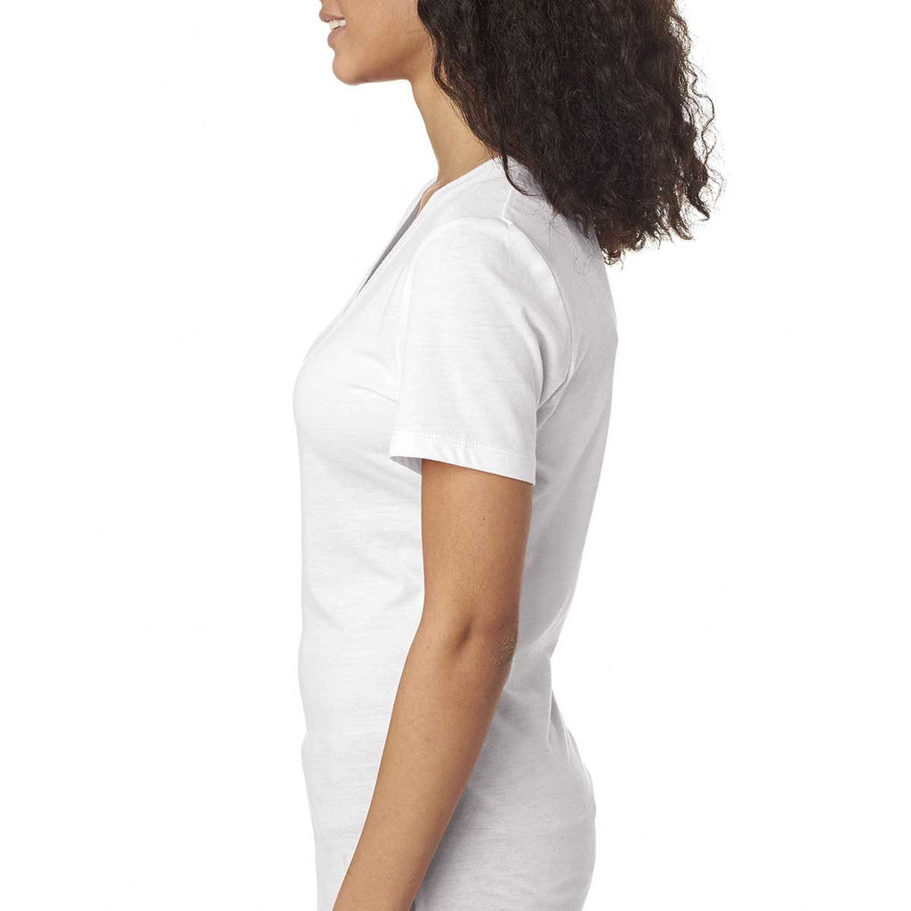 Next Level Women's White Poly/Cotton V Neck Tee