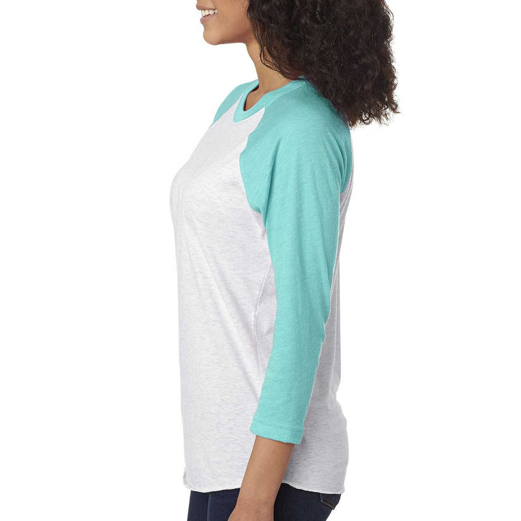Next Level Unisex Tahiti Blue/Heather White Triblend 3/4-Sleeve Raglan Tee