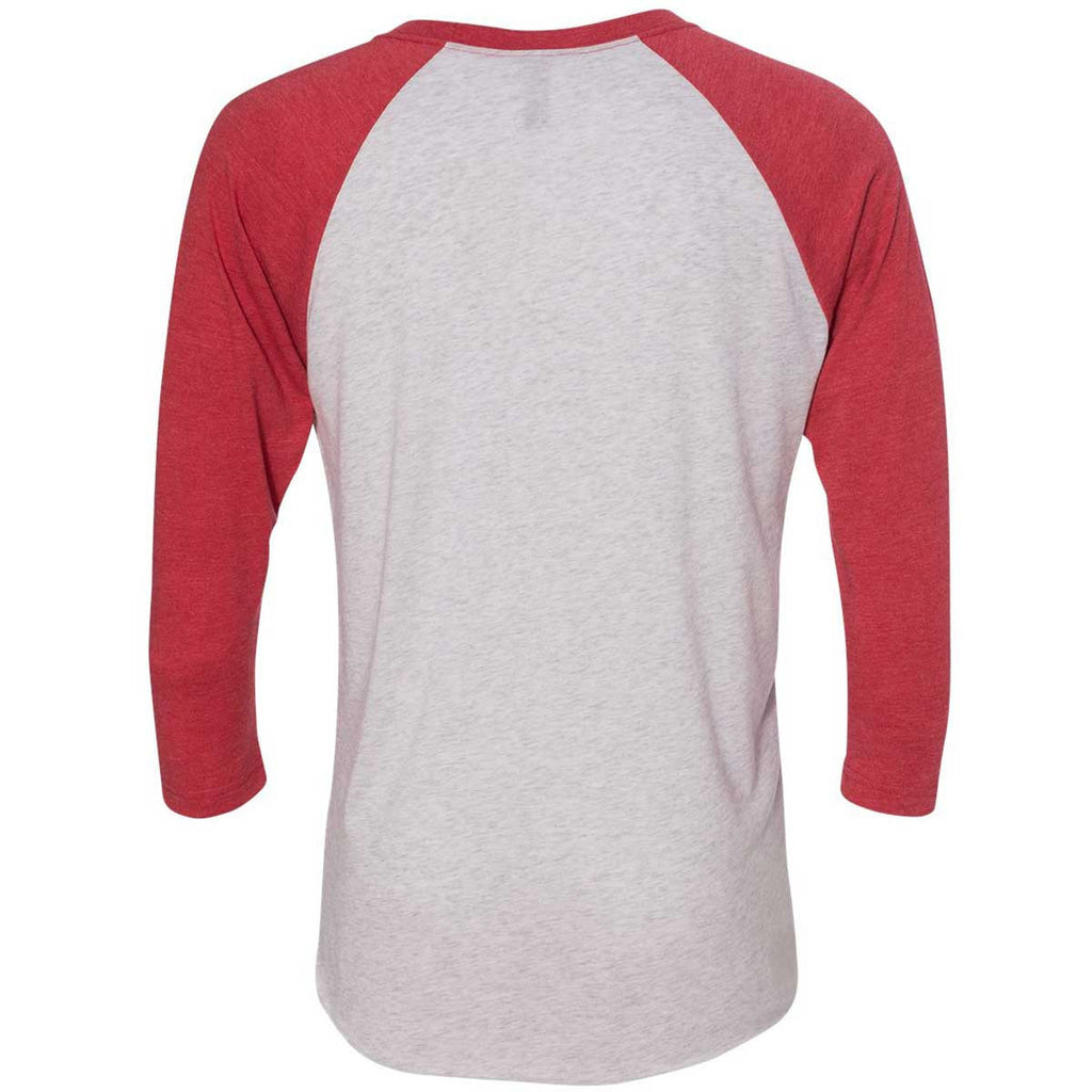Next Level Unisex Vintage Red/Heather White Triblend 3/4-Sleeve Raglan Tee