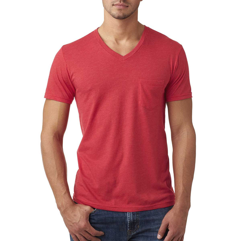 Next Level Men's Red CVC Tee with Pocket