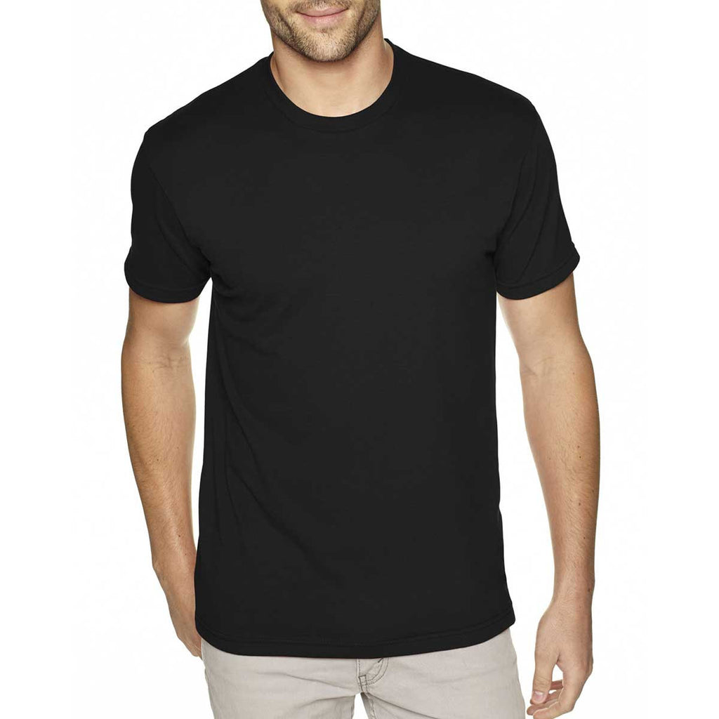 Next Level Men's Black Premium Fitted Sueded Crew