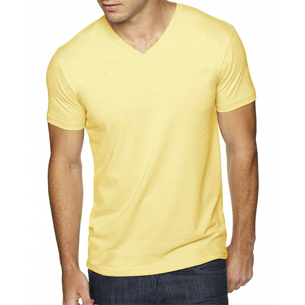 Next Level Men's Banana Cream Premium Fitted Sueded V-Neck Tee