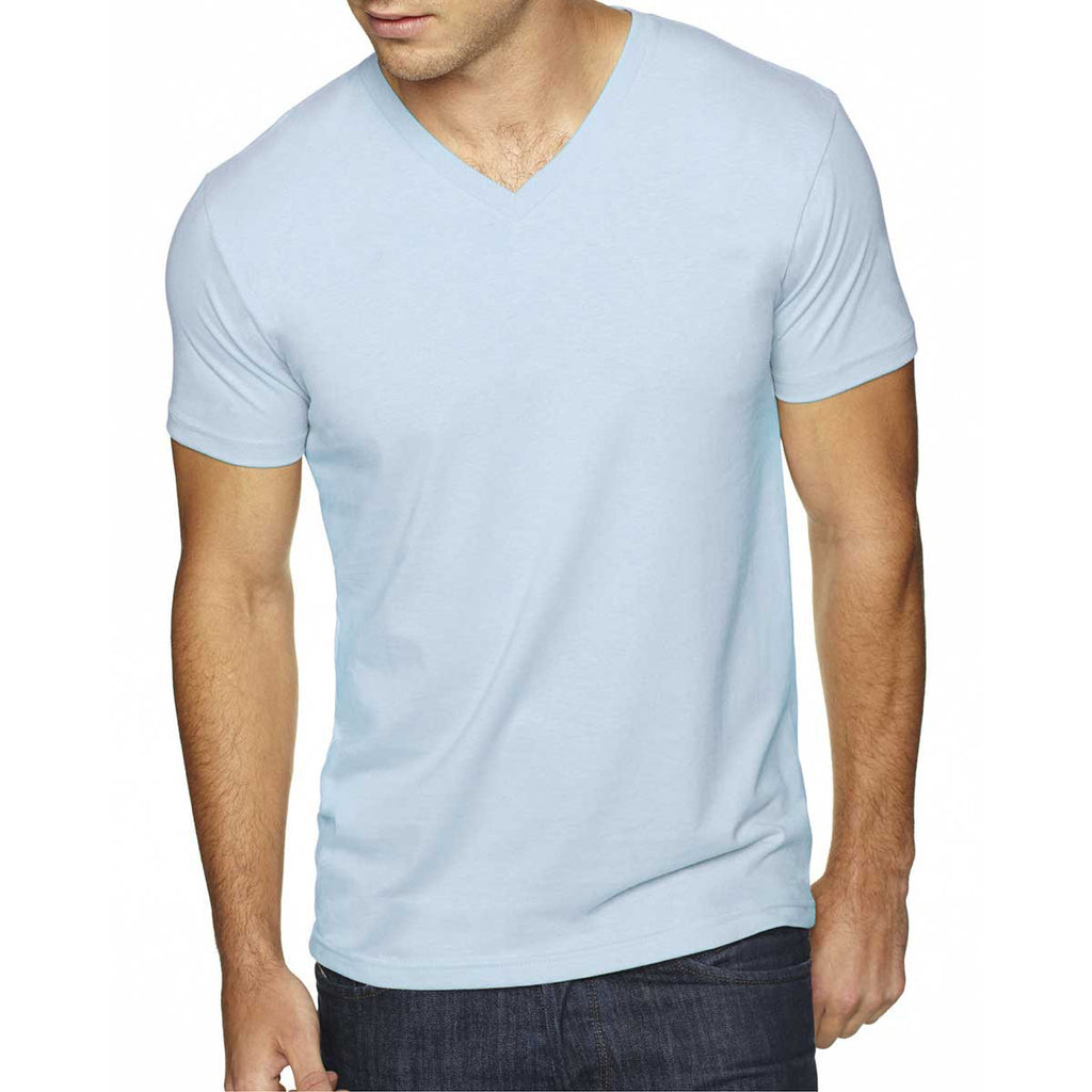 Next Level Men's Light Blue Premium Fitted Sueded V-Neck Tee