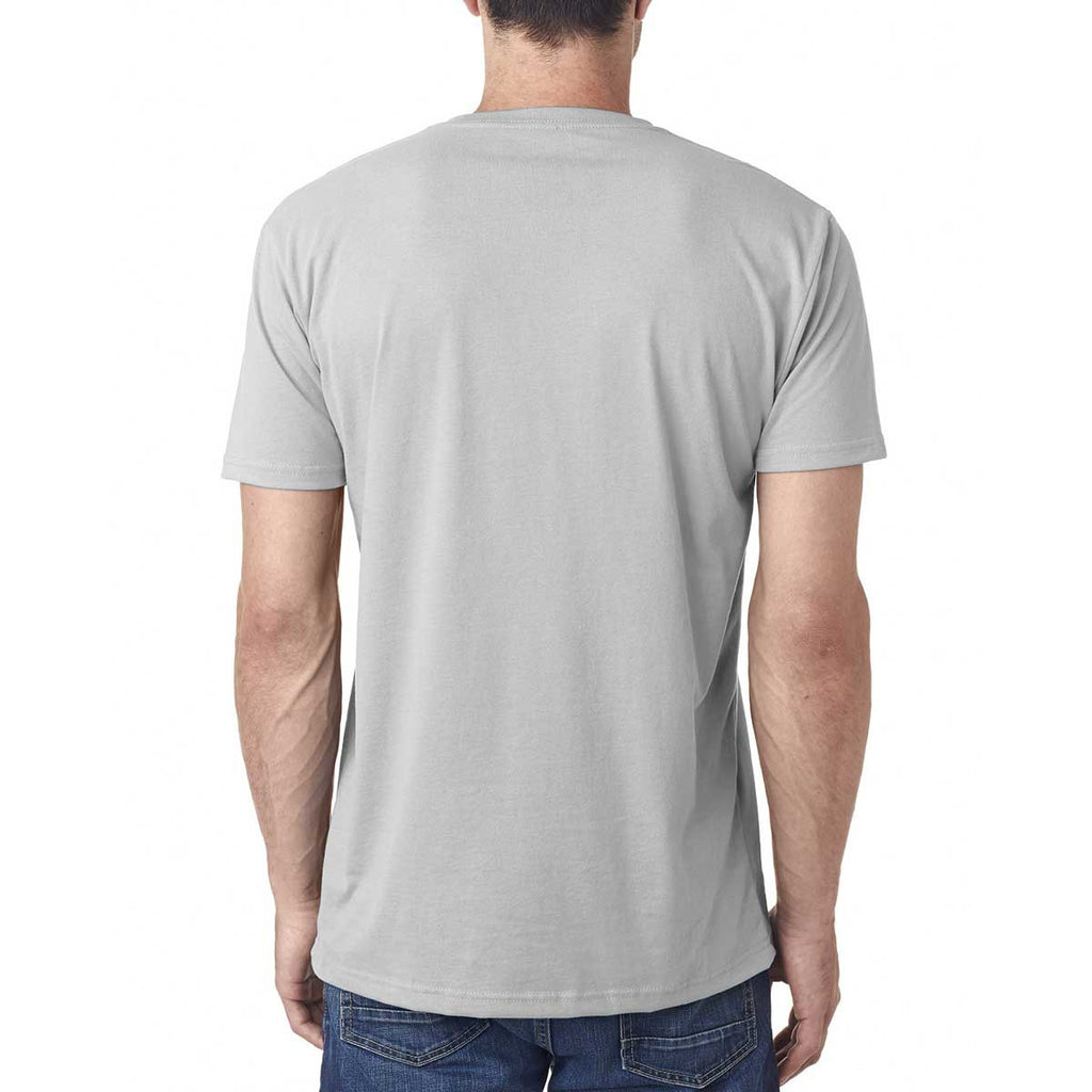 Next Level Men's Light Gray Premium Fitted Sueded V-Neck Tee