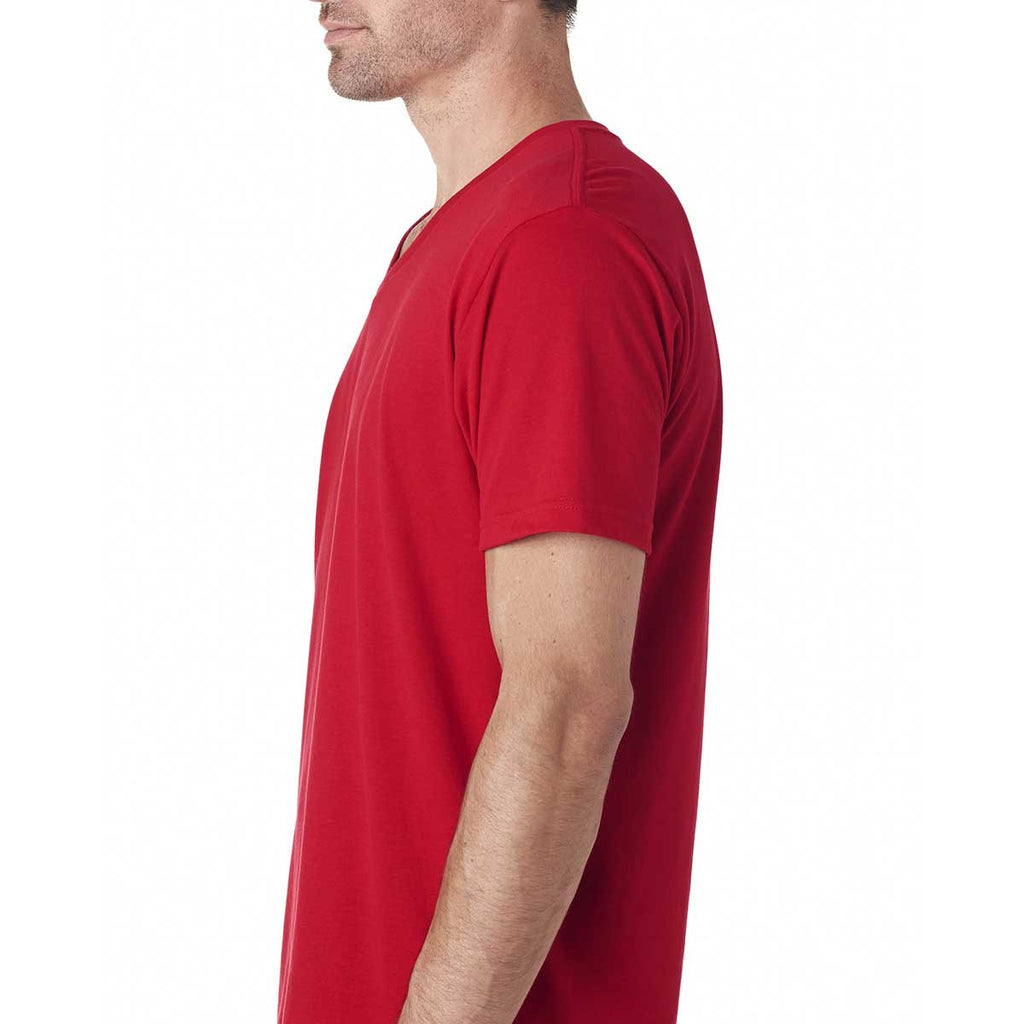 Next Level Men's Red Premium Fitted Sueded V-Neck Tee