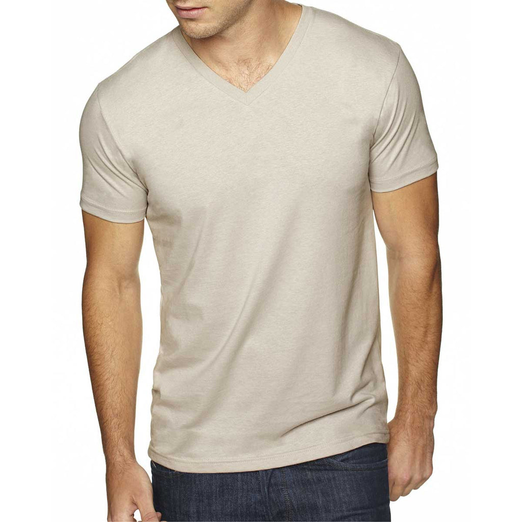 Next Level Men's Sand Premium Fitted Sueded V-Neck Tee