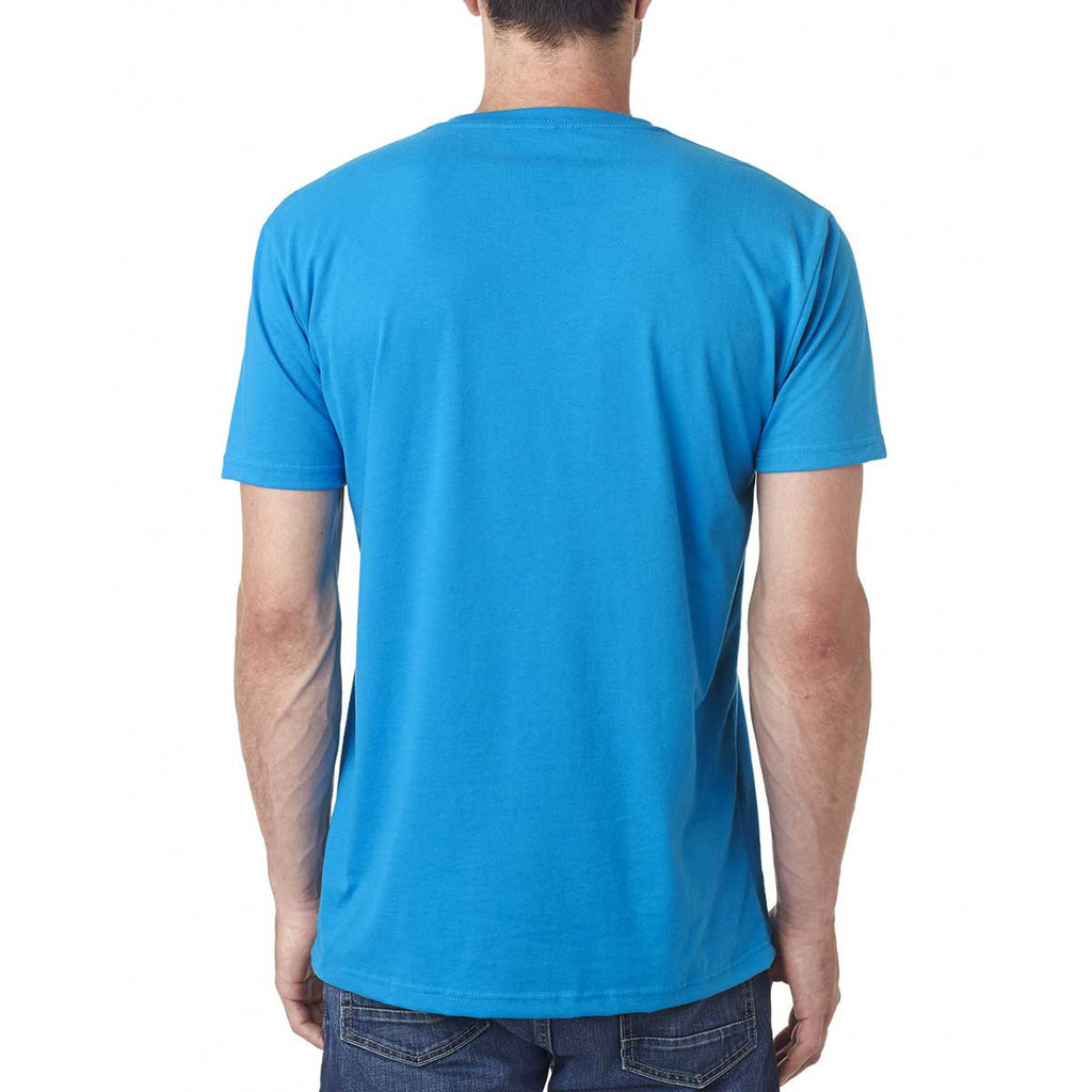 Next Level Men's Turquoise Premium Fitted Sueded V-Neck Tee