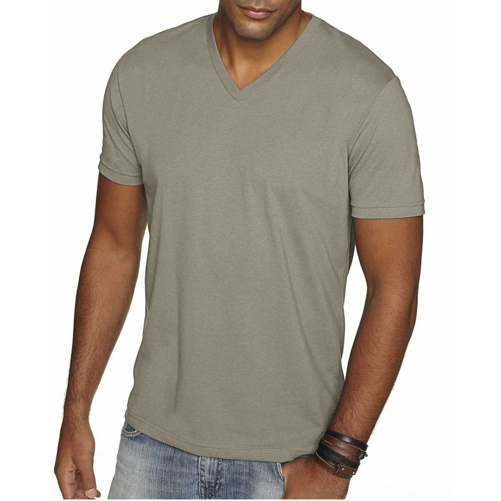 Next Level Men's Warm grey Premium Fitted Sueded V-Neck Tee