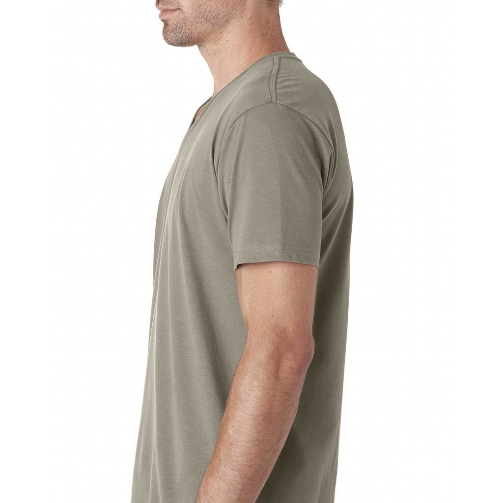 Next Level Men's Warm Gray Premium Fitted Sueded V-Neck Tee