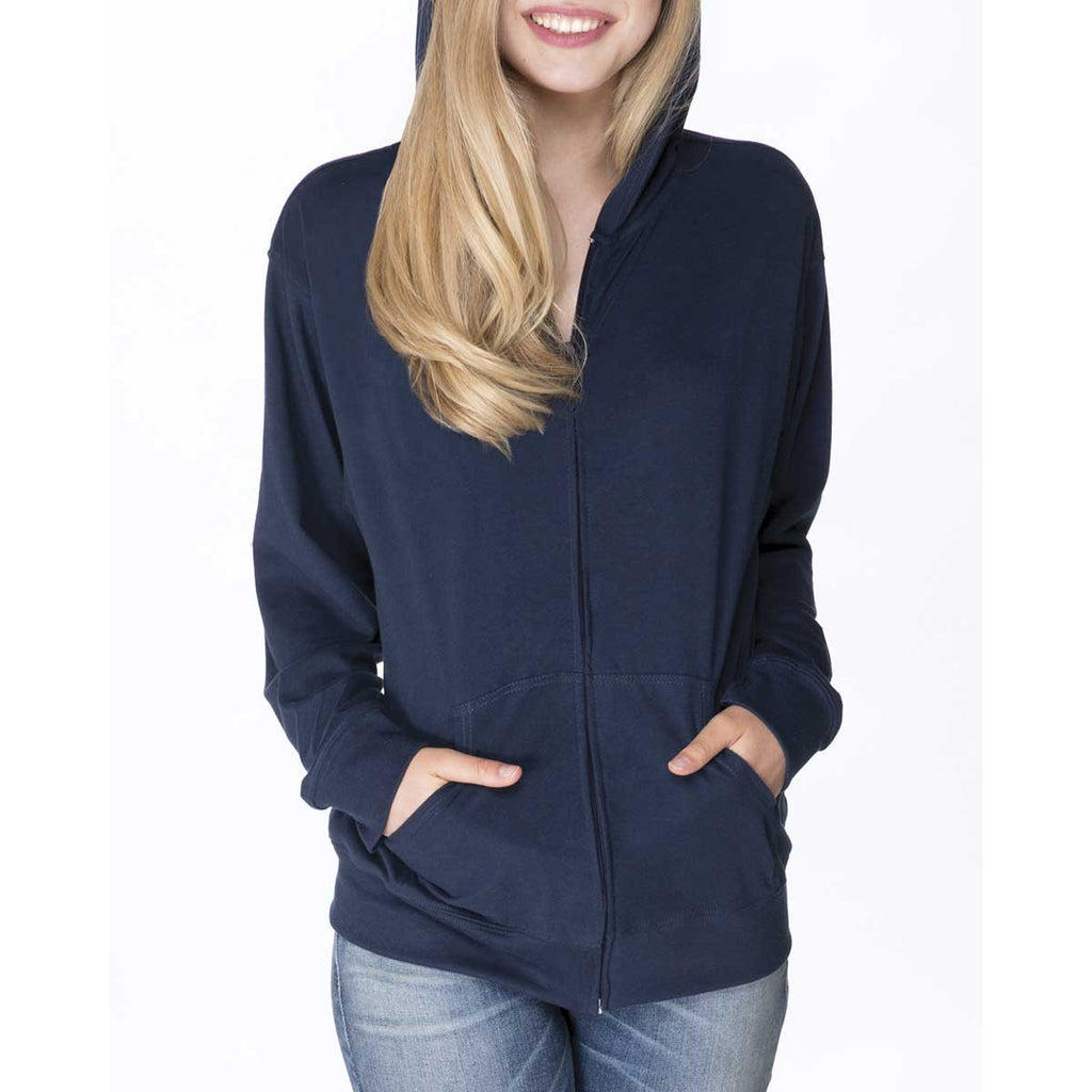 Next Level Unisex Midnight Navy Sueded Full-Zip Hoodie