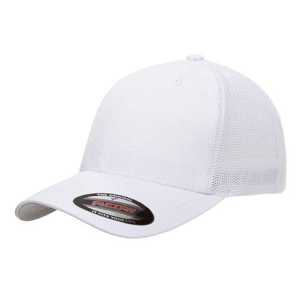 3d1c873cda6e9 Flexfit White 6-Panel Mesh Back Trucker Cap