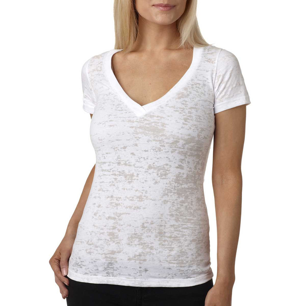 Next Level Women's White Burnout Deep V Tee