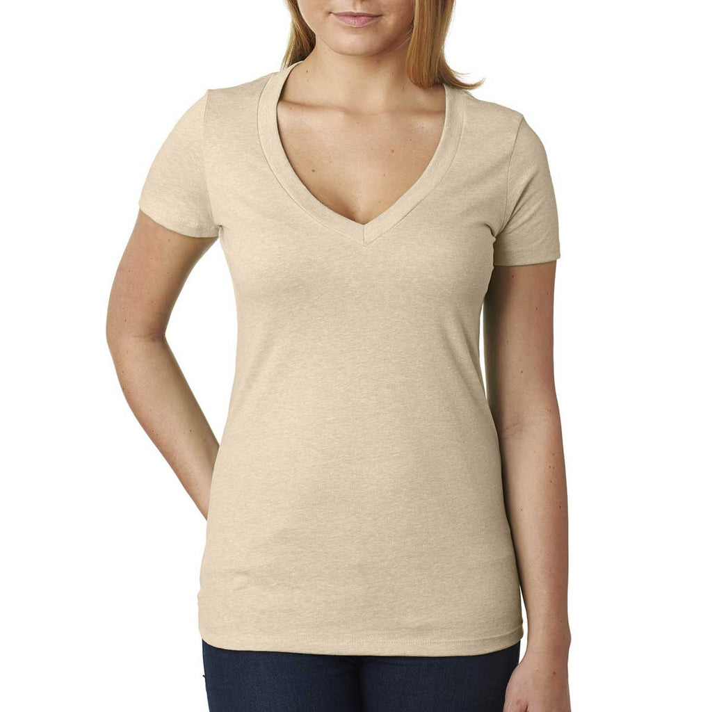 Next Level Women's Cream CVC Deep V Tee