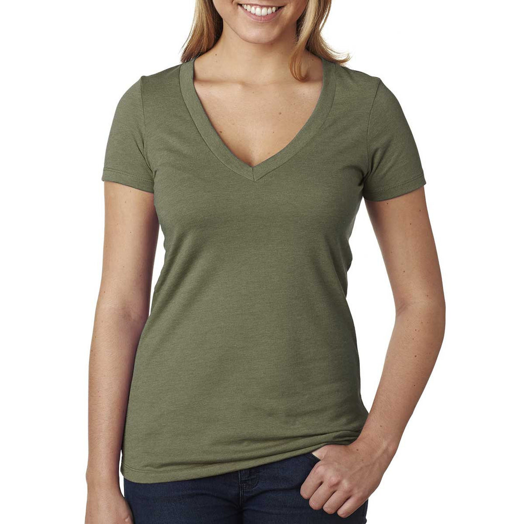 Next Level Women's Military Green CVC Deep V Tee